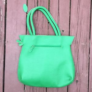 MSC Green Faux Leather Tote Bag